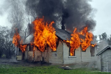 House burning up in flames