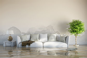 white couch in living room with white walls with the couch halfway underwater